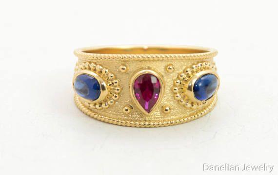 Sapphire & Ruby Ring Ruby Gold Ring Multi Gemstone Ring