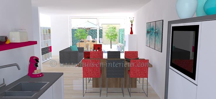 ibbA Almere - ontwerp 1 - zicht vanaf de keuken naar de woonkamer en achtertuin