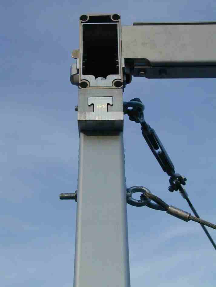 "Roder HTS 15m marquee Sliding ""dove-tail"" eves connector on a 220x100 profile 3mm wall thickness. This type of construction is common on wider marquees (12m and over)"