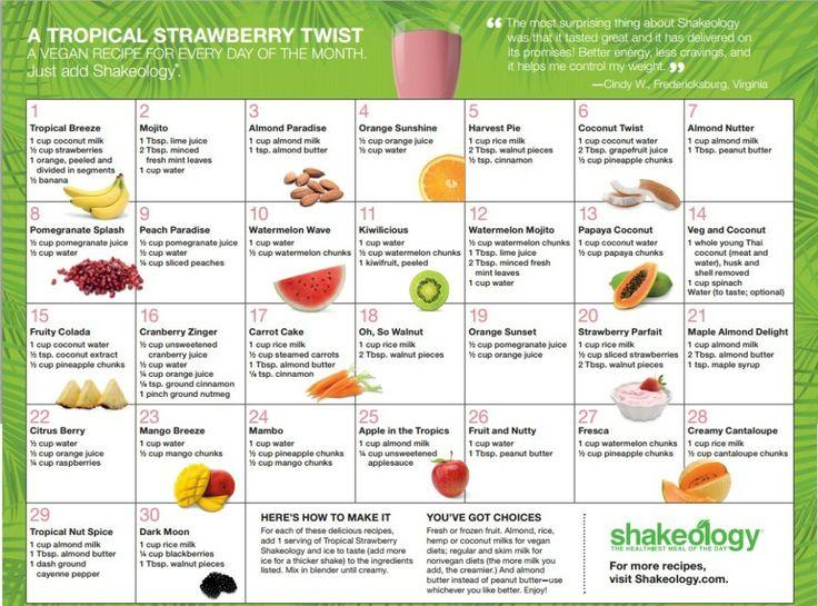 30-day Tropical Strawberry #Shakeology Recipe Calendar #Vegan #HealthiestMealoftheDay
