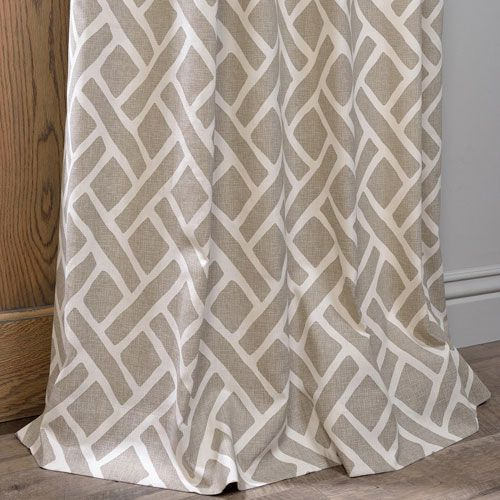 Martinique Taupe 120 X 50 Inch Printed Cotton Curtain Single Panel Half Price Drapes Panel