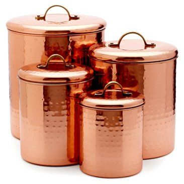 Check out this item at One Kings Lane! S/4 Assorted Copper-Plated Canisters