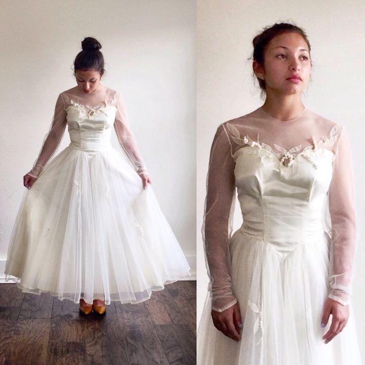 Ivory wedding dress- Tulle wedding dress- 1950s wedding dress- 50s bridal- Illusion neckline- Retro wedding dress- Satin wedding dress- XS by TheIvyRetreat on Etsy https://www.etsy.com/listing/399608081/ivory-wedding-dress-tulle-wedding-dress