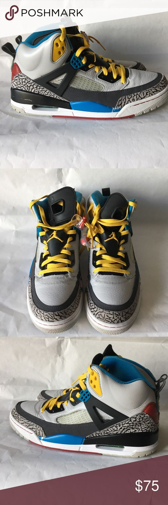 Nike: Jordan Spizike Nike: Jordan Spizike / Grey, Yellow, Blue and Red / Size 12 / Worn a few times but paint is peeling on midshoes Nike Shoes Athletic Shoes
