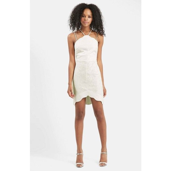 Petite Topshop Double Strap Body-Con Dress ($75) ❤ liked on Polyvore featuring dresses, cream, petite, white bodycon dress, white lace cocktail dress, bodycon cocktail dress, petite cocktail dress and white dress