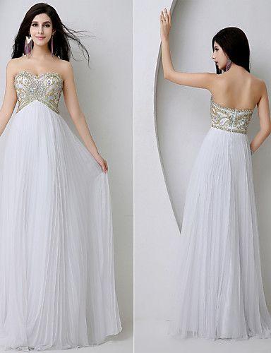 Fiesta formal Vestido-Blanco Funda/Columna Hasta el Suelo-Corazón Raso 2016 – $109.99