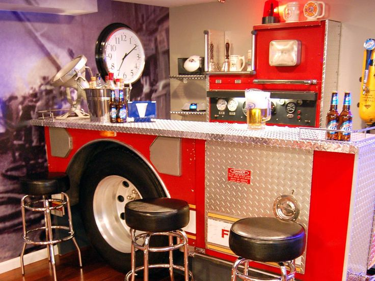 Cool Fire Truck Home Bar Design