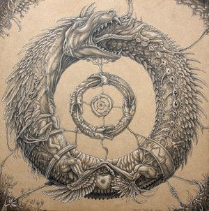 """The Ouroboros (""""tail-devourer"""") is an ancient symbol depicting a serpent or dragon swallowing its own tail and forming a circle. In ancient Egypt, it represented the sun and its eternal cyclical movement. Adopted by the Greeks, Romans and Norse as well as Hindu, Ashanti and Aztec, the meaning of the Ouroboros has widened to symbolise the cycle of life and death and by extension: infinity."""