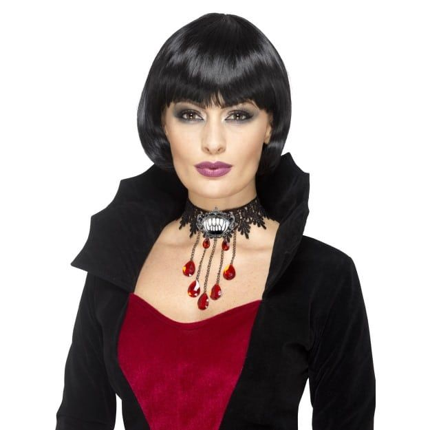 Gothic Bride Wig Black Pink Adult Womens Smiffys Fancy Dress Costume Accessory