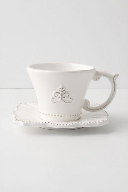 I could drink my english breakfast tea happily out of this teacup any day  #AntoinetteInspired   Fleur De Lys Cup & Saucer - Anthropologie.com