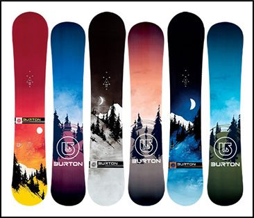 Beautiful Burton boards I really love the third one from the left with the night scene