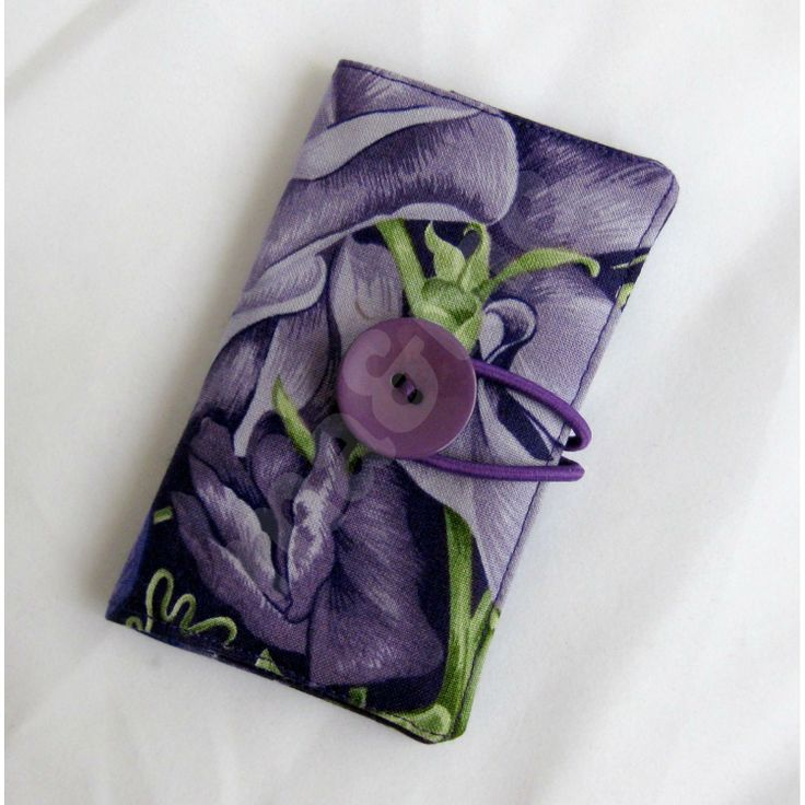 Gorgeous purple sweetpea design business card wallet, made by maandme for $12
