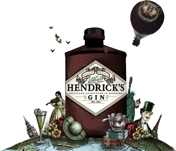 Hendricks Gin  Hendrick's wondrous botanical signature consists of flowers, roots, fruits and seeds from the world over. They function to complement and set the stage for our delicious duet of infusions: rose petal and cucumber.