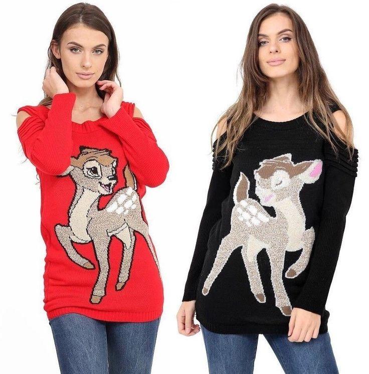 Ladies Christmas Jumper Xmas Reindeer Snowflakes Ruched Cold Cut Shoulder Womens #Unbranded #ColdShoulder #Christmas