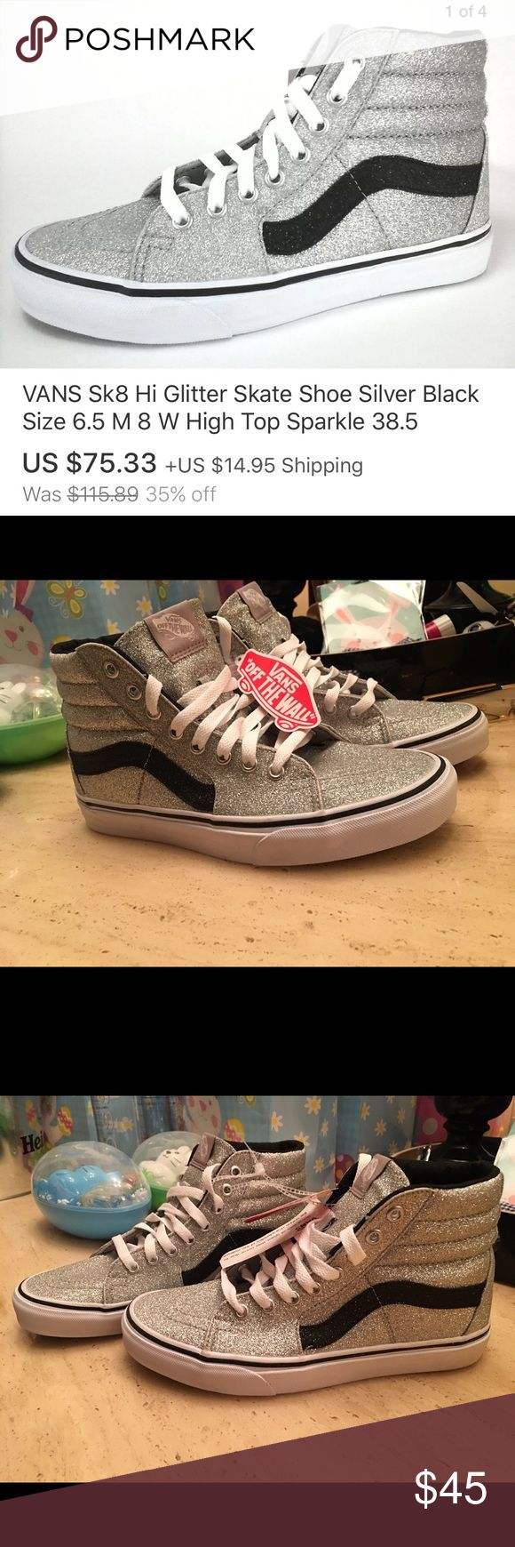 High top Glitter Vans (New) sz(7M) (8.5W) High top Glitter Vans (New) unworn. Sz(7M) (8.5W) Vans Shoes Athletic Shoes