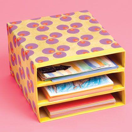 Passo a passo: Organizador de papéis feito com caixa de cereal