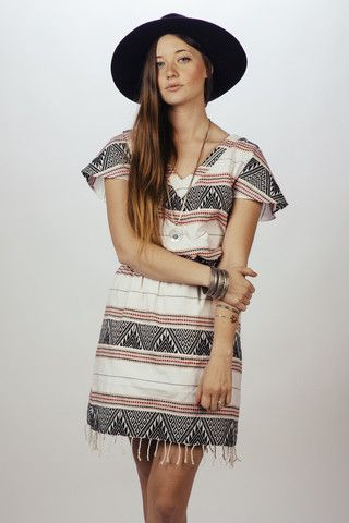 Rayong Dress. Boho, embroidered, fringed dress made with all natural plant dyes.