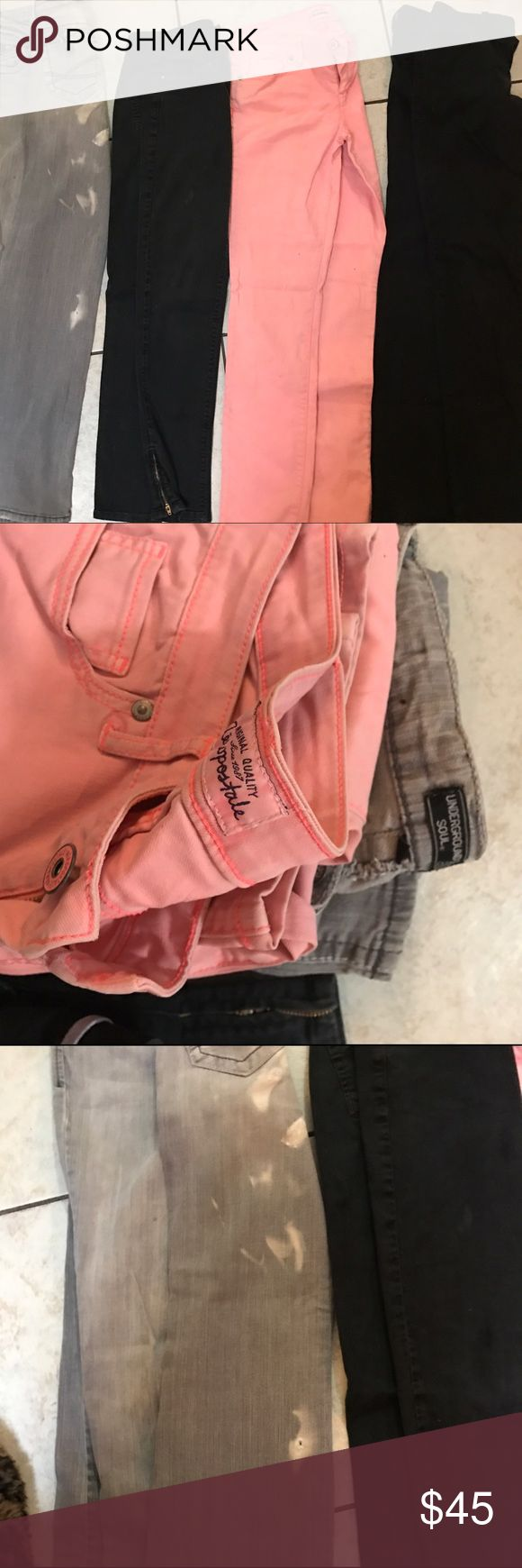 Bundle of various jeans Armani exchange, TSOTA are the brands of the black pants. The gray have a few bleach spots on them but are urban decay and could be made into a bleached para pants or reduced- I literally wear them once before my ex-husband got bleach on them and never die them as I intended so they're definitely like new, The peach pants or Aeropostale and yes I will separate them out upon request.  Check out my other bundle lots that are being added daily and take advantage of my…