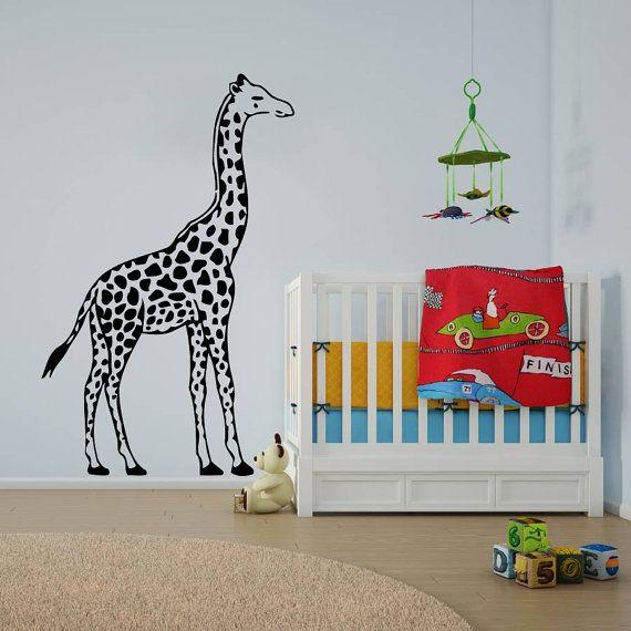 Decor design mural giraffe animals jungle safari african kids children