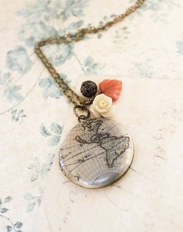 World Map Locket Necklace. A gift for the traveler.