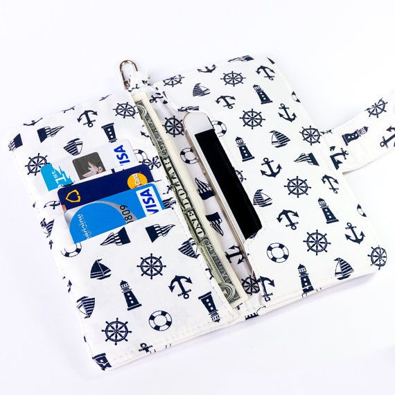 Women iPhone 6 wallet, made with white anchor and marine stuff fabric pattern. It's very beautiful and elegance. It's suitable for every woman.  https://www.etsy.com/shop/FunnySweetie Visit my women iPhone wallet shop to see more design.