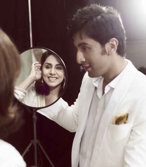 Actor Ranbir Kapoor with his mommy ! #sigh #WhatASweetheart #startingtolovehim