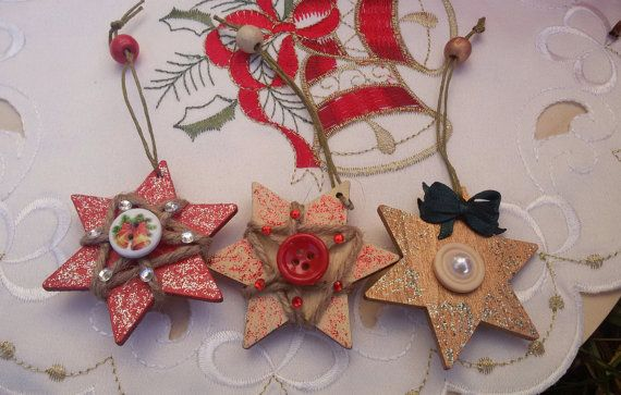 3 wooden stars Christmas hanging ornaments stars by Rocreanique