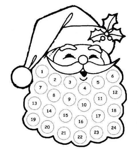 Calendari dell'Avvento da stampare - Calendario dell'Avvento nella barba di Babbo Natale