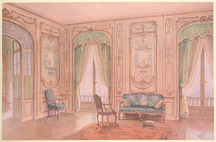 Salon peint style régence, décoré de panneaux peints par Lancret....