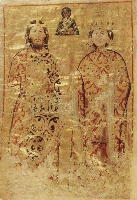 Typicon del monastero costantinopolitano della Sicura Speranza fondato nel 1030 da Teodora Paleologhina.  Ritratti autentici. Forse per influenza occidentale.  Oxford. Lincoln College.
