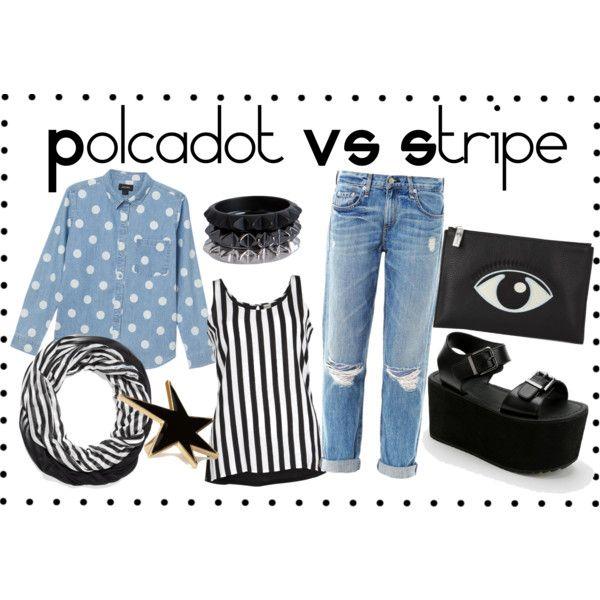 """""""Polcadot Vs Stripe"""" by ekamulya on Polyvore"""