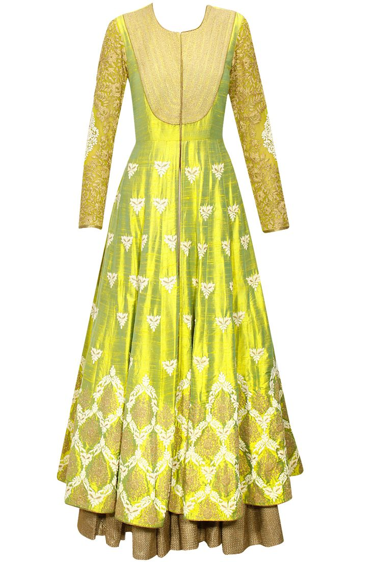 Lemon yellow dori embroidered anarkali gown with beige dupatta by Anoli Shah.