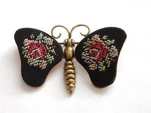 VINTAGE DECO BLACK RED PETIT POINT ROSES EMBROIDERED TAPESTRY BUTTERFLY BROOCH