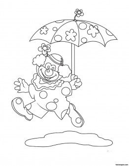 Free Printable coloring pages for kids clown umbrella - Printable Coloring Pages For Kids