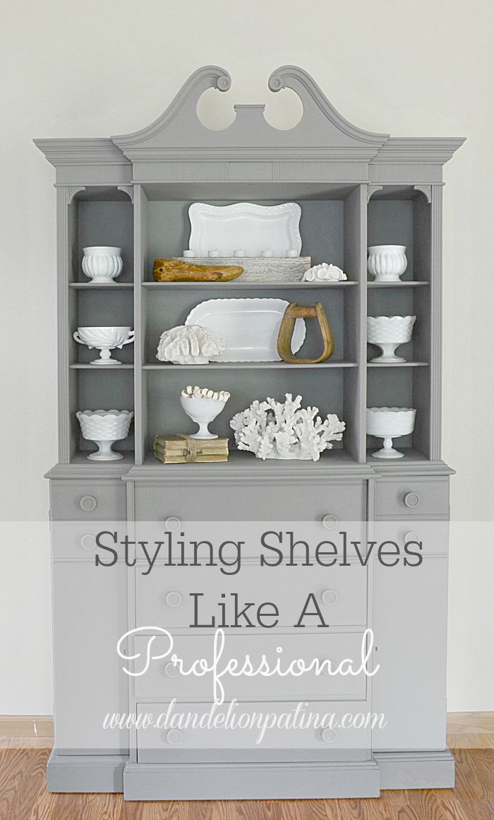 Wondering how to get that professional look for your decorative shelves? Simple ways to Style Shelves Like A Pro and create that beachy farmhouse look via dandelionpatina.com #styling #decorating