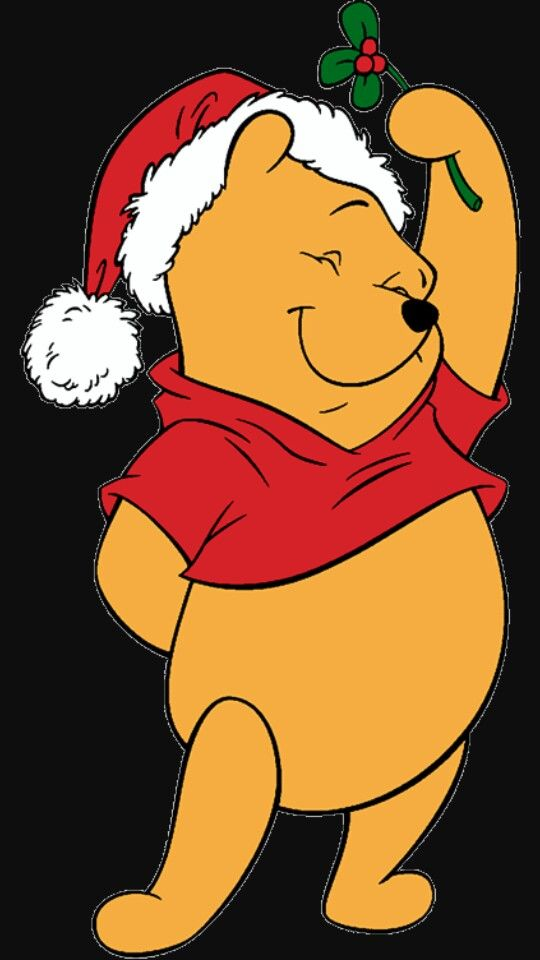 Pooh bear under the mistletoe. Giving hugs and kisses!