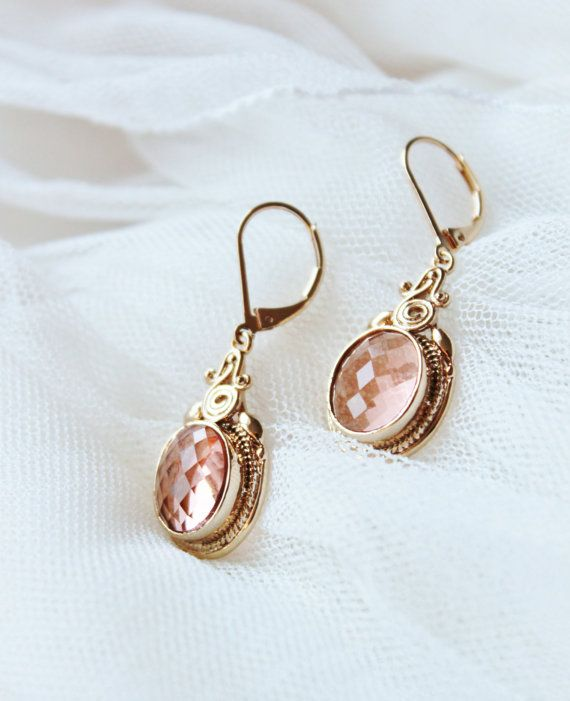 beautiful sparkling peach champagne earrings for bride and bridesmaid jewellery style. Peach Earrings Champagne  Peach Wedding by DreamIslandJewellery