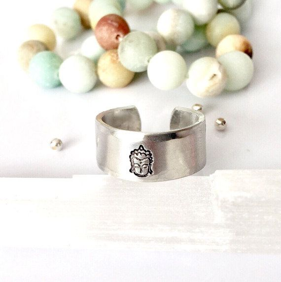 Buddha Ring Hand Stamped Ring Om Ring Yoga by AprilHyltonDesigns