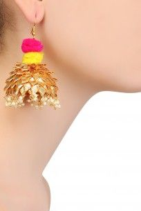 Golden Pom Pom Detail and Pearl Drop Jhumki Earrings #gotta #ribbon #earrings…