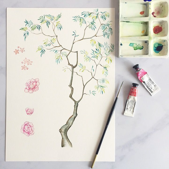 Chinoiserie, hand painted watercolour. Wedding trends 2018