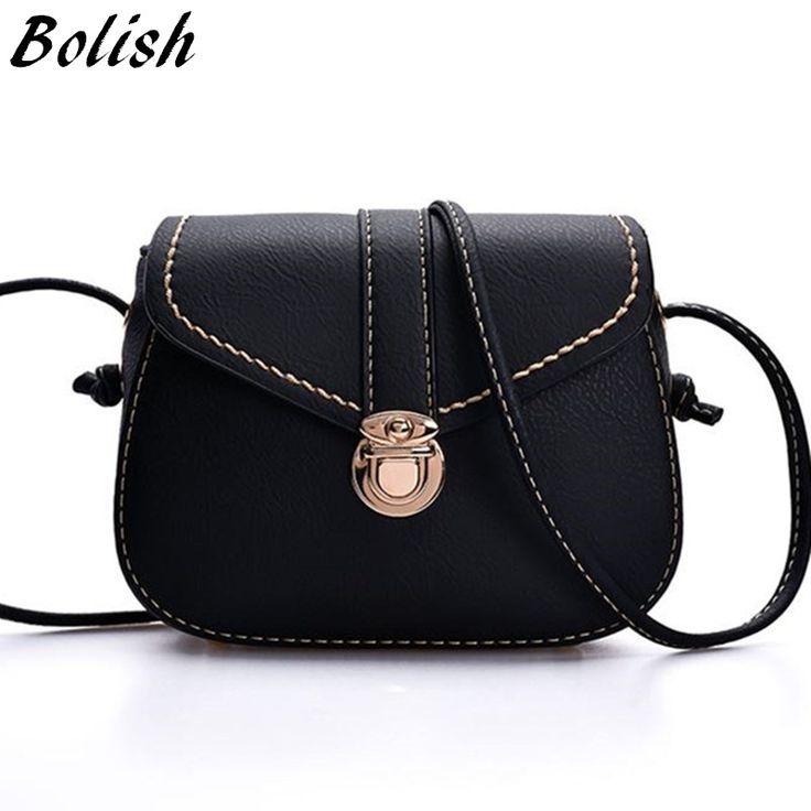 Bolish Vintage PU Leather Women Bag fashion lock small Women Messenger Bag Single Strap Shoulder Bag