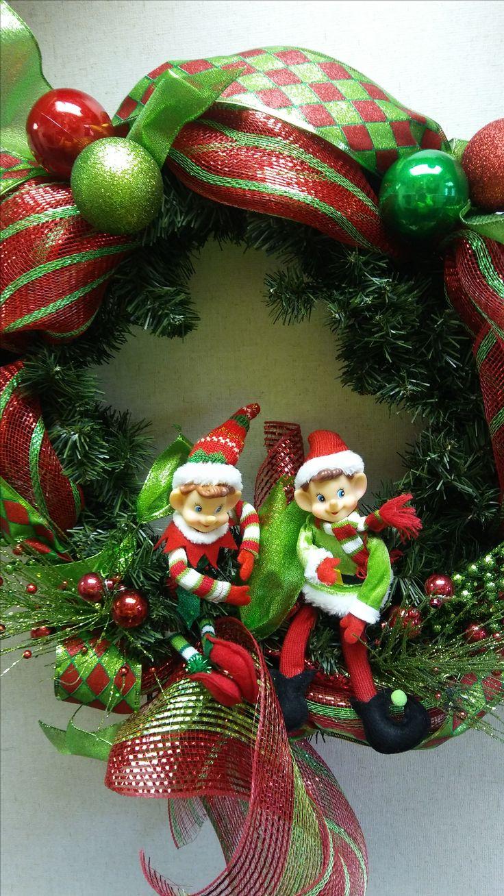 Twin Elf Rocks Christmas Wreath