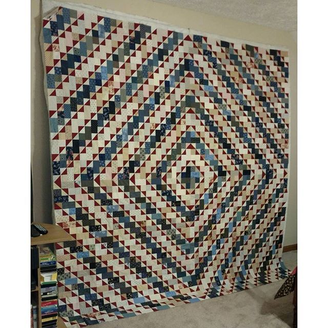 """Some quilty love coming from Pam in TN!  She writes: """"Hi,  Bonnie! I just finished my super sized patriotic version of your Bricks in tge Barnyard quilt that I started in July at your class in Smyrna, Tennessee....Thank you for such a fun pattern!! I didn't even make a dent in my scraps, of course. Ha!"""" Great job, Pam! This is going to look gorgeous on the bed! You can find this pattern in my book Scraps and Shirttails II. Signed copies are available in the Quiltville Store at…"""