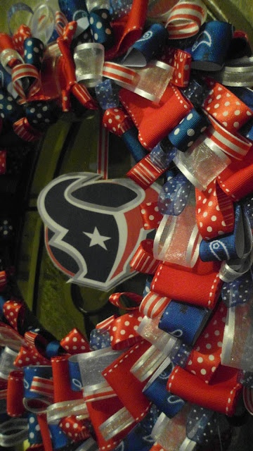 I saw that going differently in my mind...: Houston Texans Ribbon Wreath