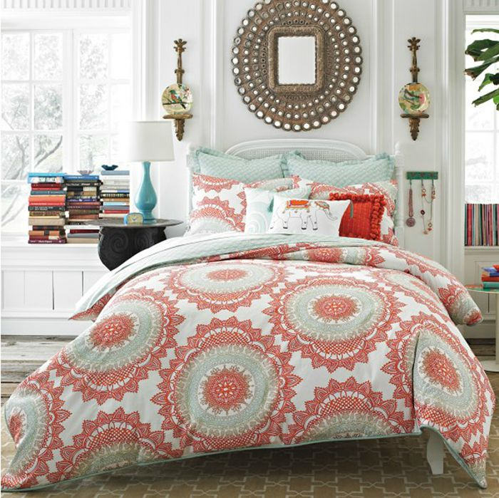 Coral and blue bedding -- love this color combo for beachy decor!