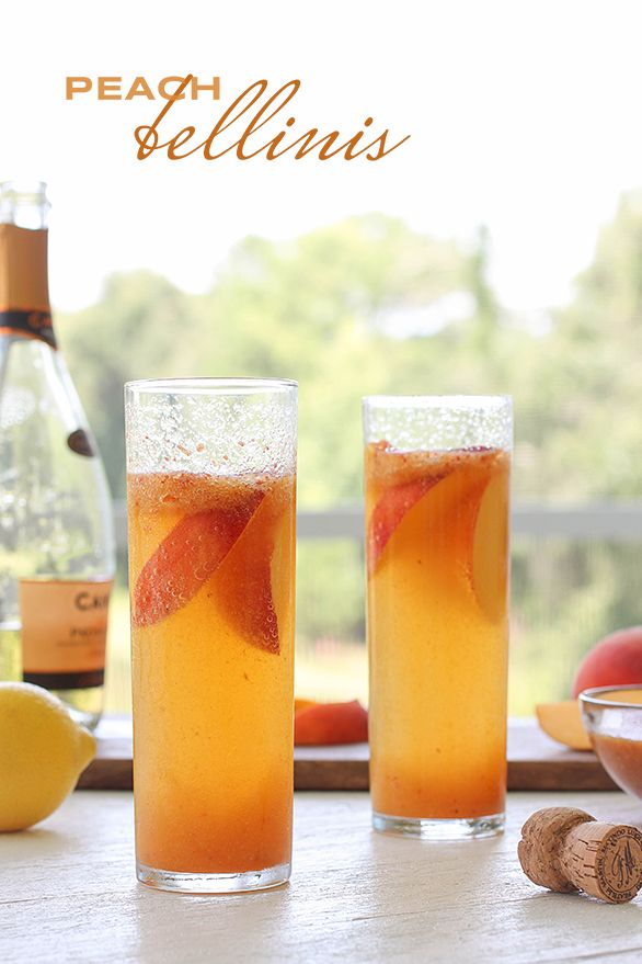 Peach Bellini Recipe -2 ripe peaches, seeded and diced -1 tablespoon freshly squeezed lemon juice -1 teaspoon sugar -1 bottle chilled #ConoSur sparkling wine