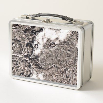 rustic style - wolf metal lunch box - rustic gifts ideas customize personalize