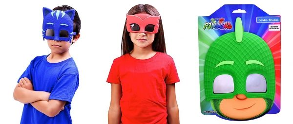 Sun-Stache Disney PJ Mask - Sun Glasses - Shades - Sunstache - 3 styles - CatBoy Owlette Gekko  PJ Masks is an animated children's television series produced by Entertainment One, Frog Box, and TeamTO. The series is based on the Les Pyjamasques book series by Romuald Racioppo.  Feature shatter-resistant lenses.  One Size Fits Most   All Sun-Staches provide 100% UV400 protection.