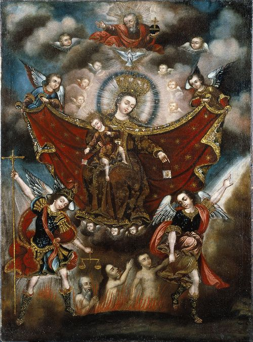 .:. La Virgen del Carmen Sacando Las Animas del Purgatorio (The Virgin of Carmel Delivering Souls from Purgatory), by an Anonymous painter of the Cuzco School; Brooklyn Museum of Art, New York, USA; 17th century