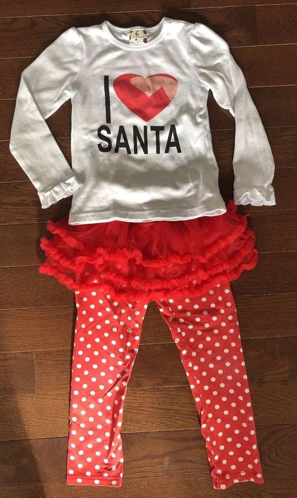 57457929b9f920 I ?? Santa Christmas Outfit Red/White Polka Dot Tutu Leggings&White LS Top  Sz6T